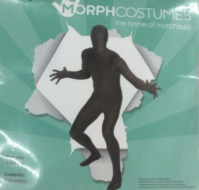 Men's Black Morphsuit Costume Body Skin Suit Zentai Large L 36-38 #Morphsuit #Suit