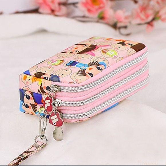 Harajuku Lovers Tri-Zip Wristlet Pink Purse Bag Adorable Harajuku Wristlet with …