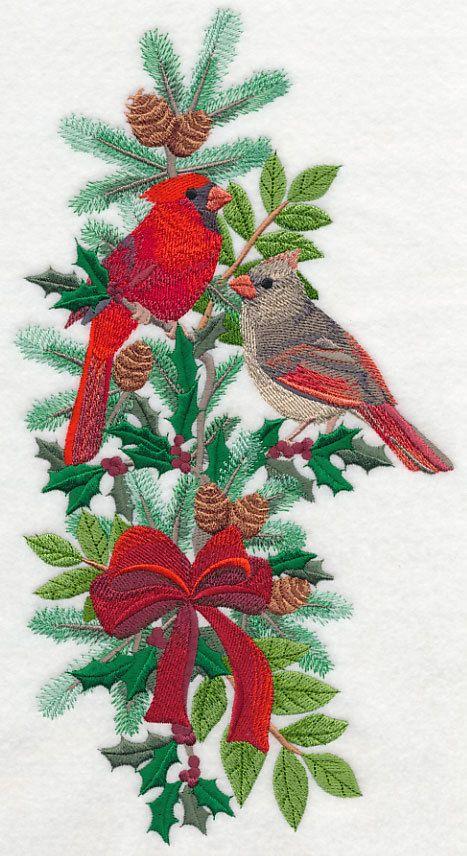 Cardinal christmas machine embroidered quilt block azeb