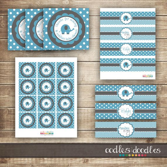 Elephant Baby Shower / Chevron & Polka Dots / Blue and by OandD