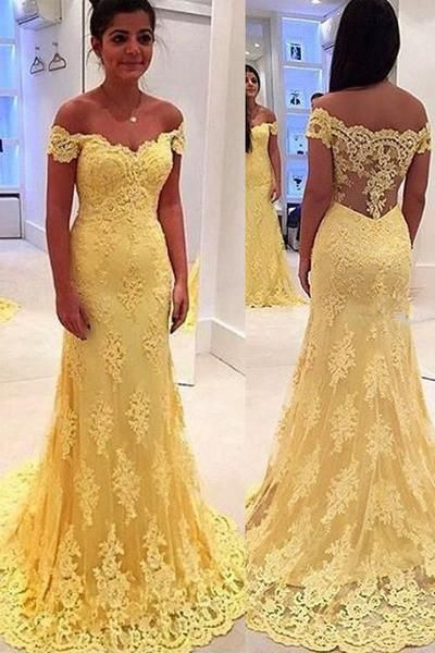 New Arrival Sheath Yellow Lace Prom Dress with Sweep Trian,Off Shoulder Formal Dress