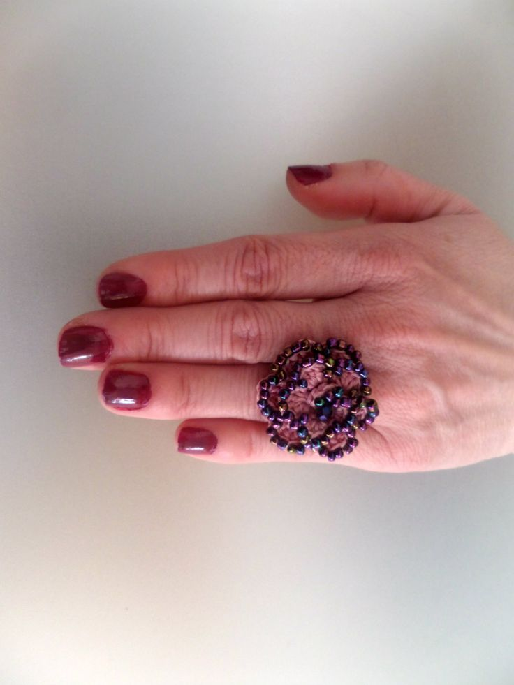 Crocheted Flower Ring / Pink waxed Cord & Colourfull Beads / Celebration Gift / Crocheted Jewelry / Whimsical / Crochet Ring by Vintagespecialmoment on Etsy