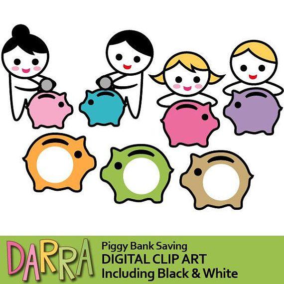 Saving clipart planner sticker / planner icon clip art piggy