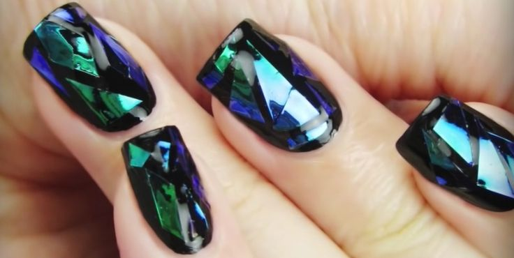Bright nails ideas, Broken glass on short nails, Disco nail, Evening nails, Evening nails by gel polish, Fall nail ideas, Modern nails, New year nails ideas 2017