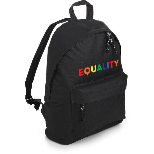 EQUALITY BACKPACK ($24) ❤ liked on Polyvore featuring bags, backpacks, rainbow bag, rucksack bag, gothic backpack, day pack rucksack and grunge backpack