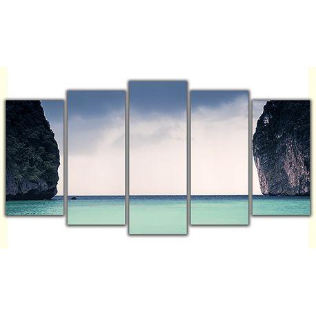 Obraz na płótnie Poliptyk Obraz pięcioczęściowy - Brama do morza #fedkolor #obrazzezdjęcia #poliptyk #obrazpięcioczęściowy #obraznapłótnie #wydrukujzdjęcie #sztuka #art #pomysł #inspiracja #wnętrza #adaptacjawnętrza #morze #niebo #skały #widok #pejzaż #krajobraz #chmury #diy #dopokoju #dobiura #dosalonu #wakacje