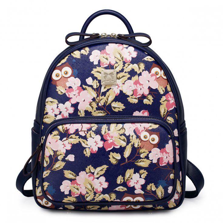 Dark Blue Backpack With Cute Printed Flowers