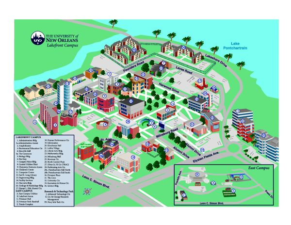 University Of New Orleans Lakefront Campus Map Louisiana