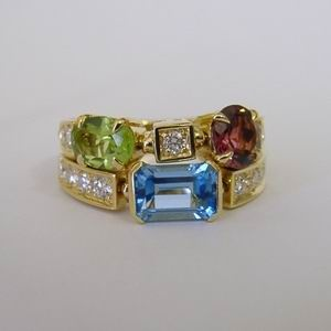 """18ct gold multi gem signed bvlgari ring"""