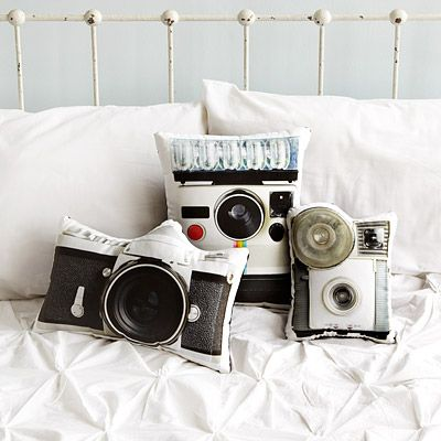 "Look what I found at UncommonGoods: vintage camera pillows. I REALLY want the ""Tourist"" (SLR) and ""flashbulb"" (Brownie-type) versions!"