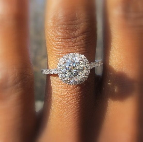 Round diamond ring with thin band future wedding Pinterest
