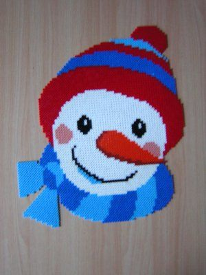 Winter snowman hama perler beads by cathy077