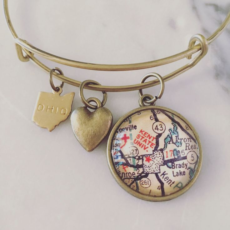 Kent State University Map Charm Bangle Bracelet - Personalized Map Jewelry - Stacked Bangle - Ohio - Midwest - Student - Alumni - Graduation by DaisyMaeDesignsShop on Etsy https://www.etsy.com/listing/279361364/kent-state-university-map-charm-bangle