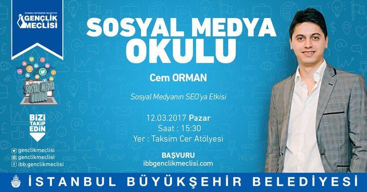 12 Mart Pazar günü saat: 15:30'da İstanbul Büyükşehir Belediyesi Gençlik Meclisi Sosyal Medya Okulu'nun düzenlemiş olduğu Sosyal Medyanın Seo'ya Etkisi konulu söyleşiye konuşmacı olarak katılacağım. http://www.ibbgenclikmeclisi.com/Kurumsal/Makaleler/Ayrinti/1597-Sosyal-Medya-Okulu-Sosyal-Medyanin-Seoya-Etkisi http://www.cemorman.com.tr
