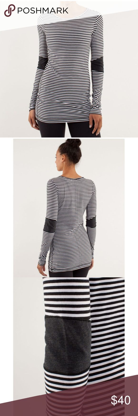 """Lululemon Devotion Classic Stripe Black White Top PRICE IS FIRM AND NON-NEGOTIABLE. NO OFFERS. LOWBALLERS WILL BE BLOCKED. NO TRADES. Lululemon """"Devotion"""" long sleeve top in Classic Stripe Black/White. A soft, light layering piece made with soft and breathable Vitasea fabric. Body-skimming fit. Pre-shrunk. Removable inner tag was taken out, but this is a size 6. lululemon athletica Tops Tees - Long Sleeve"""