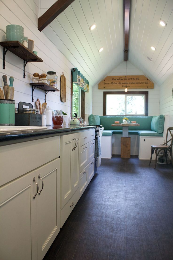A beautiful tiny house on wheels, custom built for a client who wanted a home to reflect her southern roots.