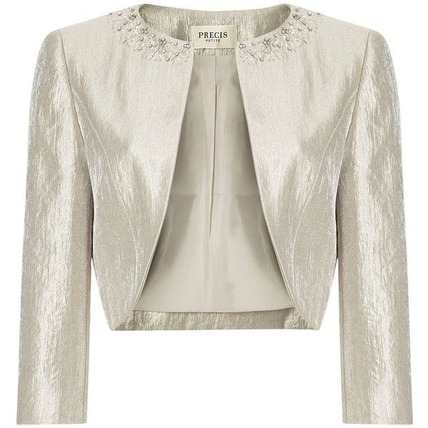 Precis Petite Oyster Embellished Bolero (2 235 ZAR) ❤ liked on Polyvore featuring outerwear, jackets, neutral, petite, women, embellished jacket, white bolero, white jacket, precis petite and bolero jacket