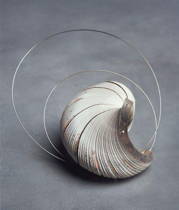 Paper Jewellery Sculptural Brooch - beautiful forms, contemporary jewelry art // Janna Syvanoja