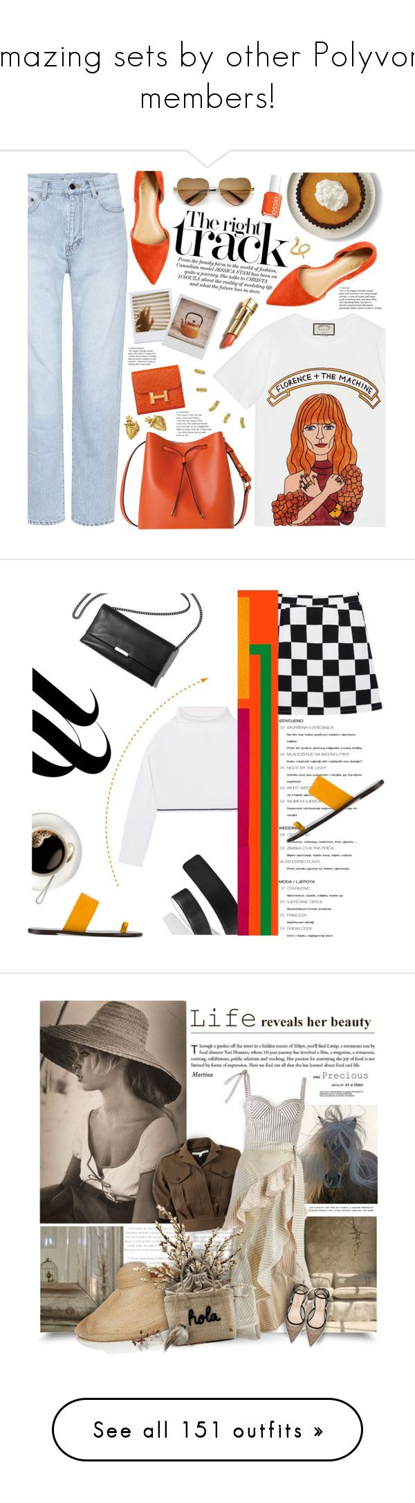 """""""Amazing sets by other Polyvore members!"""" by sunnydays4everkh ❤ liked on Polyvore featuring Gucci, Yves Saint Laurent, Lodis, Polaroid, StrangeFruit, Essie, Madina Visconti di Modrone, DKNY, All Tomorrow's Parties and Loeffler Randall"""