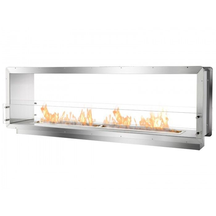 "The 78.5"" Wide Double-Sided Ethanol Burning Firebox is an open, see-through ethanol fireplace that may be built into the wall with the benefits of the fireplace shared by two separate spaces. It offer"