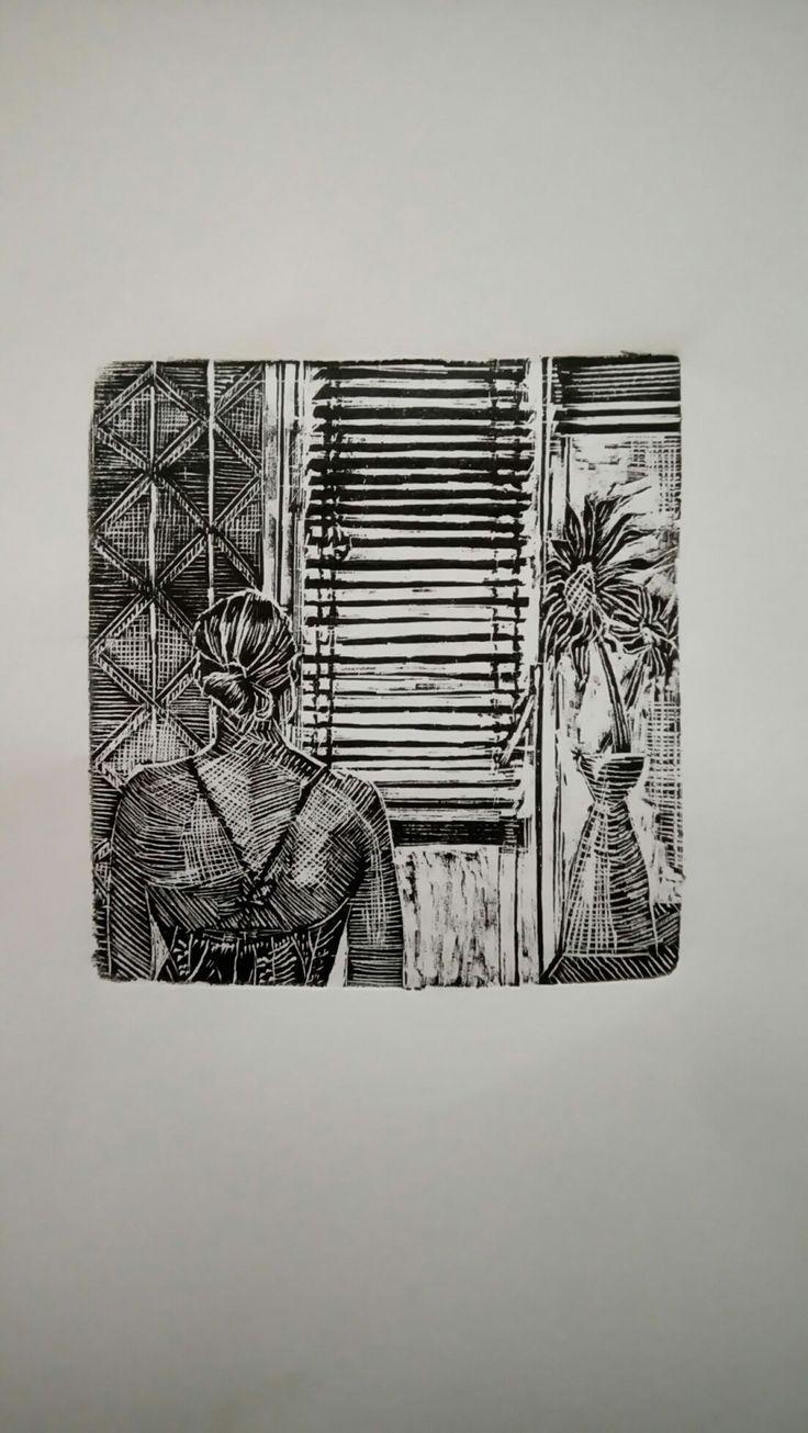 """Stavroula"",endgrain woodcut, 9,5cmX9,5cm"