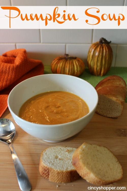 Easy Pumpkin Soup Recipe. I made this last night and it's pretty tasty. Very simple recipe. Maybe add a bit of salt for flavor!