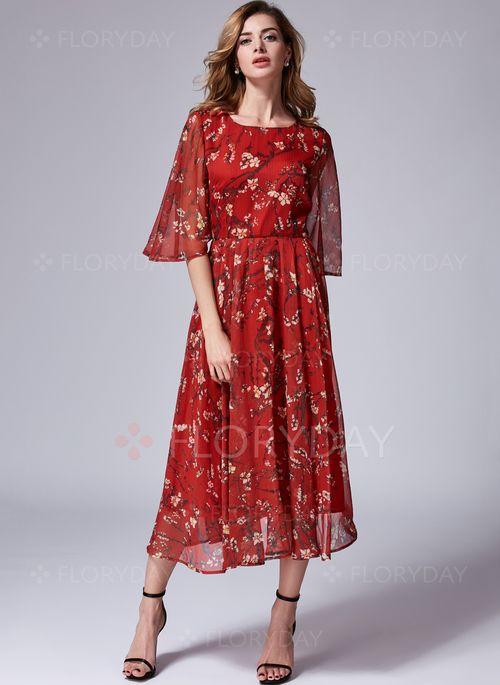 Šaty - $49.99 - Hedvábí Jednobarevný Poloviční rukávy Do půl kotníků Neformální Šaty (1955123436)
