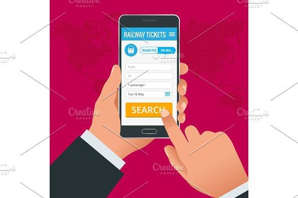 Railway tickets booking online app phone concept. Book your ticket online and pay the amount at anywhere in the world. Travel Icons