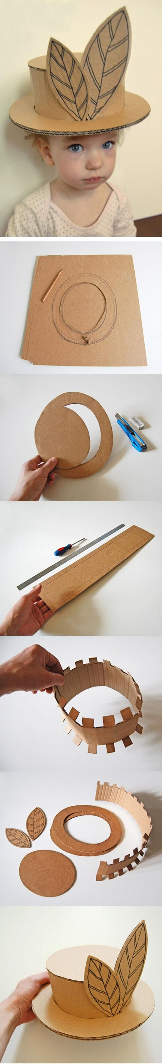 DIY :: cardboard hat ( Measure the circumference of the head with string... www.playandgrow.r... )
