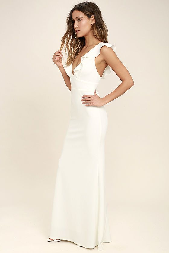 Lulus Exclusive! Weddings, parties, and galas are all good excuses to debut the Perfect Opportunity White Maxi Dress! Stretch knit forms fluttering sleeves, a V-neck, seamed bodice, and set in waist. Figure-flaunting maxi skirt with mermaid hem. Hidden back zipper/clasp.
