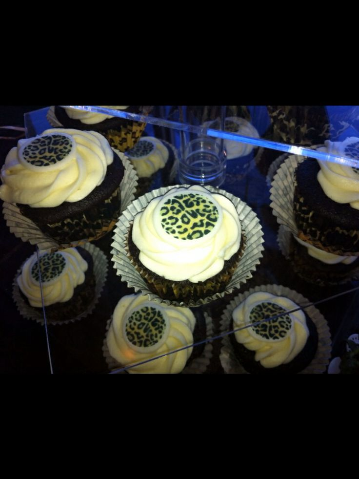 Leopard cupcakes for a sixty birthday party