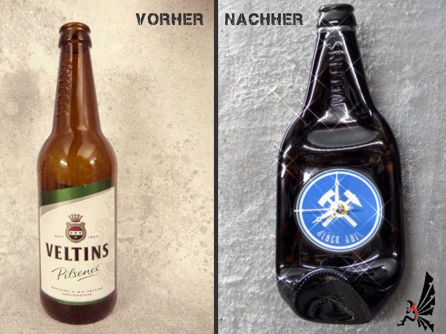 Deko WandUhr - Veltins Schalke Glück Auf! - Bier Flasche Uhr Geschenkidee neu