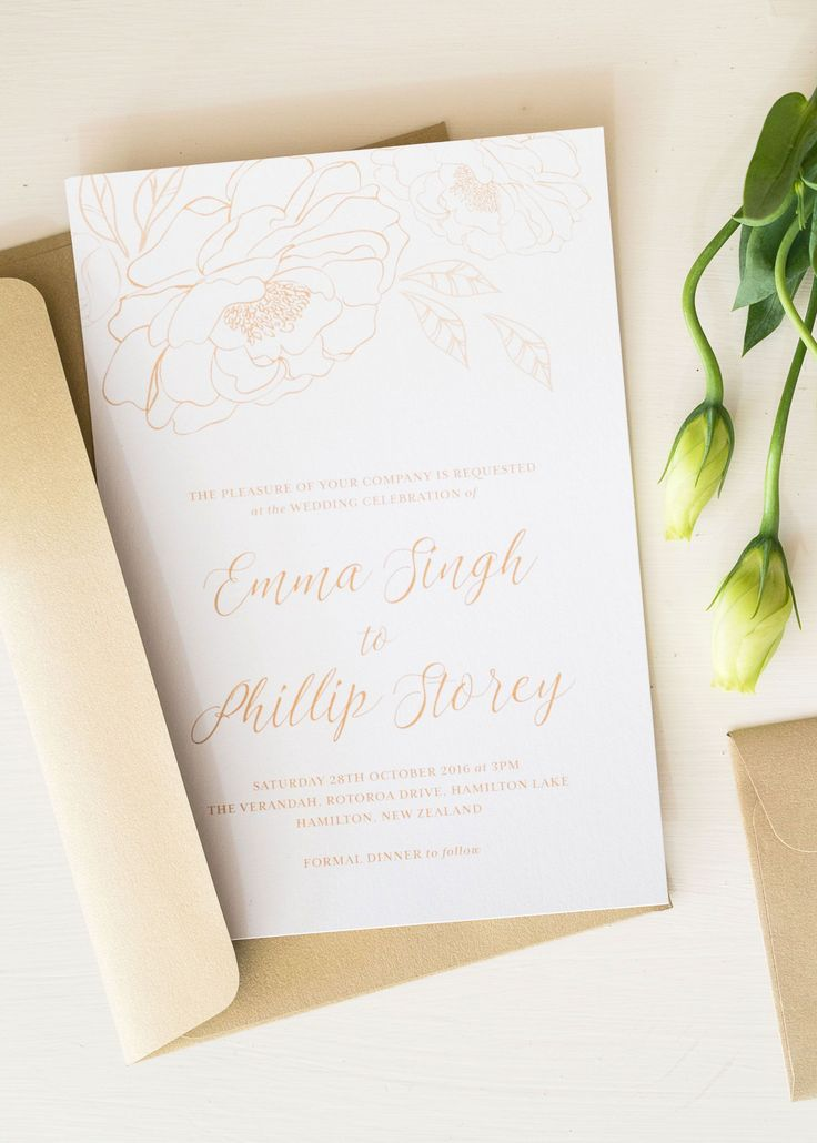 Botanical Wedding Invitation Stationery Big Peony Florals In Gold Invite By Creative