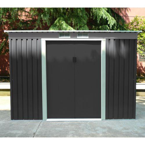 abri de jardin en m tal adossable 3 2 m2 gris kit d 39 ancrage inclus. Black Bedroom Furniture Sets. Home Design Ideas