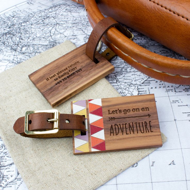 Personalised Wood Luggage Tag Adventure | Create Gift Love £16  This stunning walnut and leather luggage tag is the perfect accessory for travelling in style! Providing a unique gift for a birthday, wedding, 5th anniversary, retirement or just because.  http://www.creategiftlove.co.uk/collections/personalised-luggage-tags/products/personalised-wood-luggage-tag-adventure  #luggagetags #personalised #creategiftlove