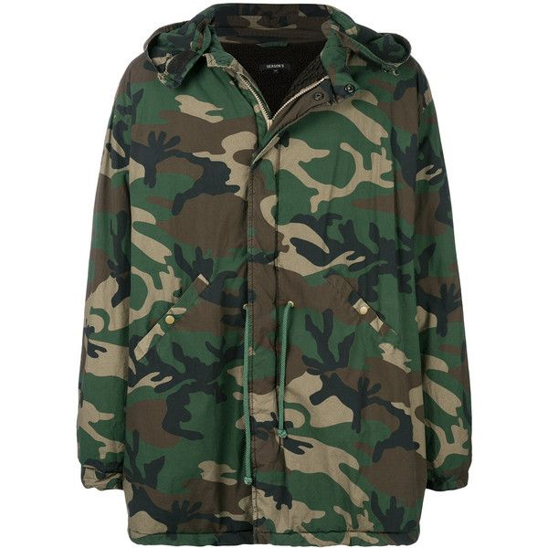 Yeezy Season 5 oversized camouflage jacket ($1,300) ❤ liked on Polyvore featuring men's fashion, men's clothing, men's outerwear, men's jackets, green, mens hooded jackets, mens oversized denim jacket, mens camouflage jacket, mens green jacket and mens camo jacket