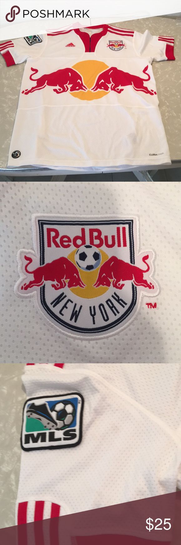 NY Red Bull's Soccer Jersey NY Red Bull's Adidas Soccer Jersey White Youth Extra Large In great condition only worn a few times adidas Shirts & Tops