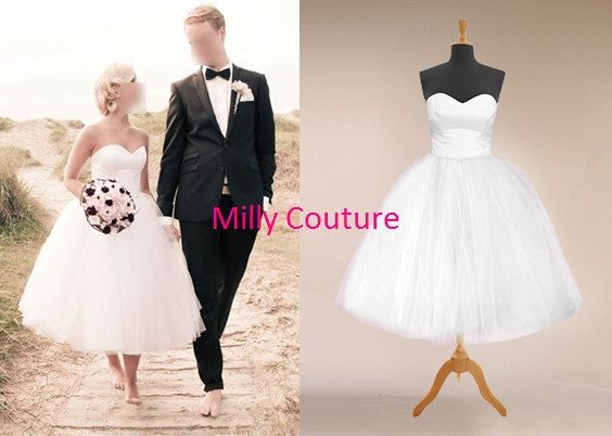 Tutu wedding dress tulle wedding dress short 1950 by MillyCouture, $159.00