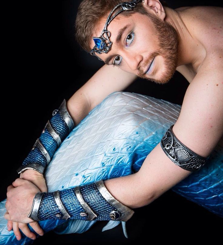 Dreamy #merman Arion wears his #OrganicArmor accessories and a #finfolk tail, photo by Mamzelle Bulle Photography