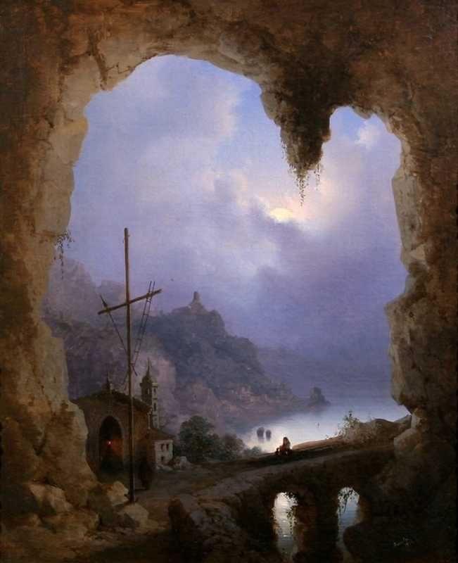 Gioacchino LA PIRA - View of Amalfi from the Grotta del Convento dei Cappuccini, 1856