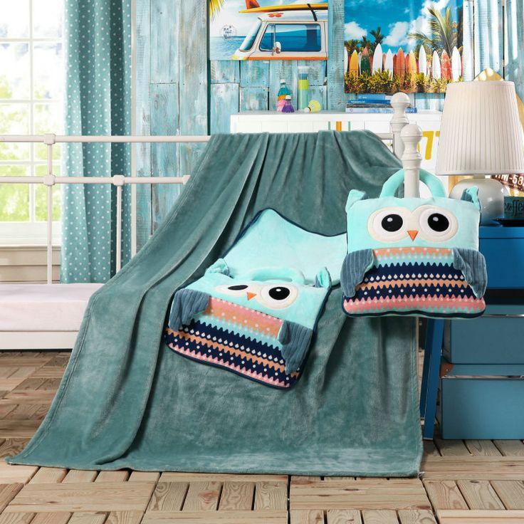 Hracia deka a vankúšik pre deti v tmavozelenej farbe so sovičkami