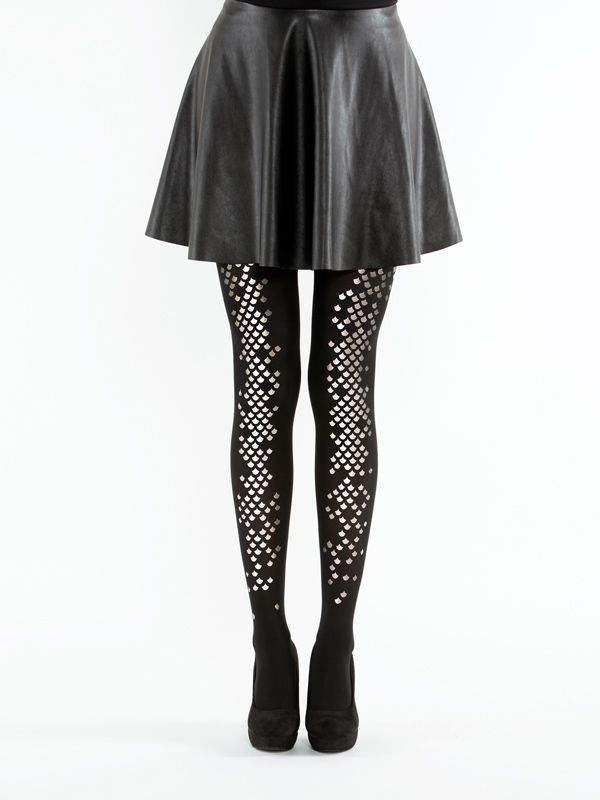 Black Mermaidtights! Semi-opaque tights with silver scale pattern on one sideof the legs (wear it front or back) The material is 40 denier, really elastic thanks to its Lycracontent.