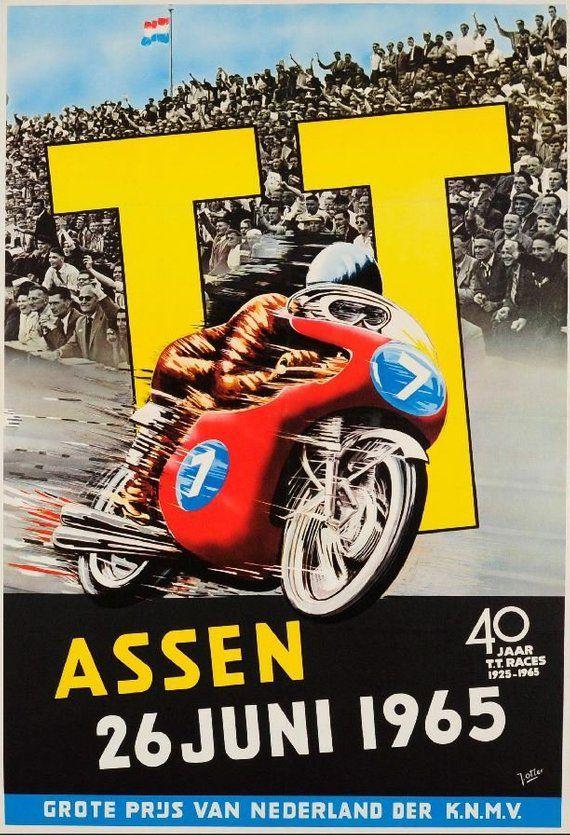 T T Assen 1965 Vintage Motorcycle Grand Prix Poster Retro Etsy Vintage Racing Poster Vintage Motorcycle Posters Assen