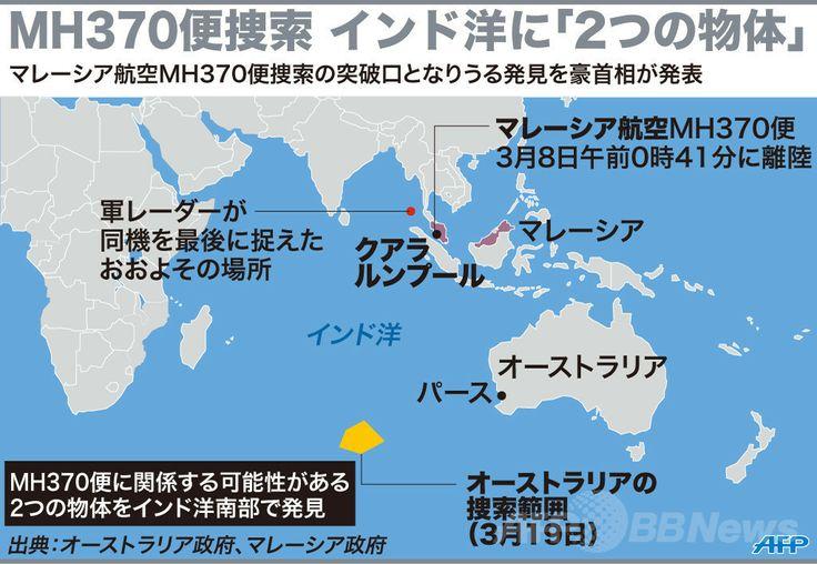 マレーシア航空(Malaysia Airlines)MH370便と関係する可能性がある2つの物体が見つかったとされるインド洋(Indian Ocean)の海域を示した図。(c)AFP ▼20Mar2014AFP|不明機か? 豪、インド洋で2物体を発見 1つは24m http://www.afpbb.com/articles/-/3010652 #mh370 #mas #B777200 #MalaysiaAirlines #Australia #IndianOcean