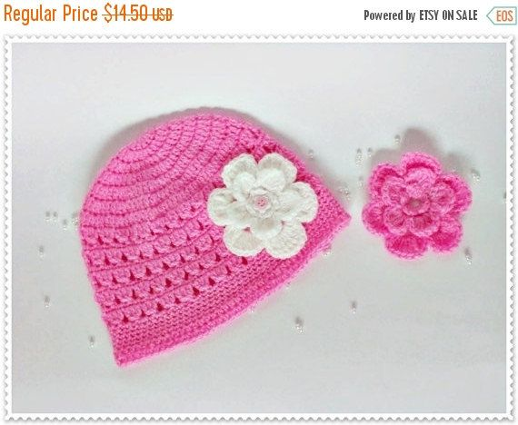 CHRISTMAS SALE Crochet baby hat Crochet girl hat Crochet toddler hat Pink hat Girl's hat Baby girl's hat Flower baby hat Newborn baby Photo (11.60 USD) by ROSSIBOUTIQUE