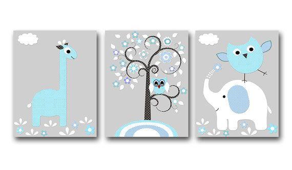 "Baby Boy Nursery art print Childrens Wall Art Baby Room Decor Kids Print set of 3 11""x14"" giraffe elephant owl tree grey blue"
