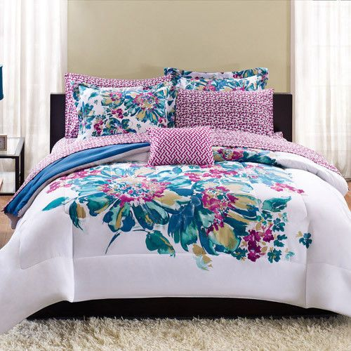 BEAUTIFUL VIBRANT FLORAL 9 PC QUEEN SIZE FORTER BED IN