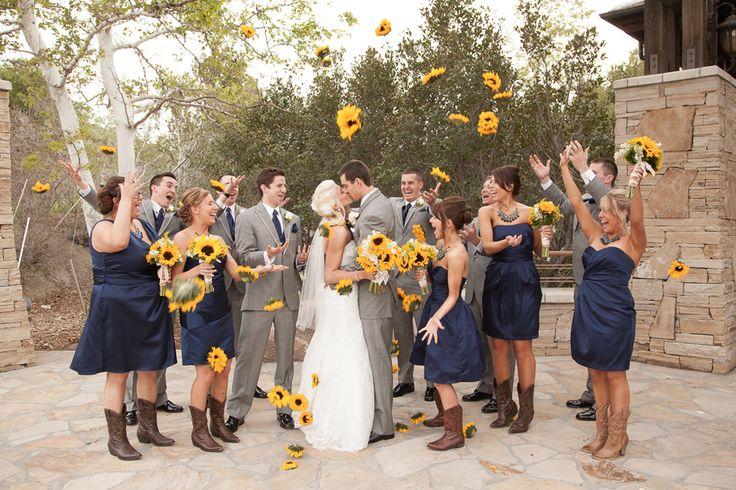 Rustic, Navy, Yellow Sunflower Wedding   www.beccarillo.com