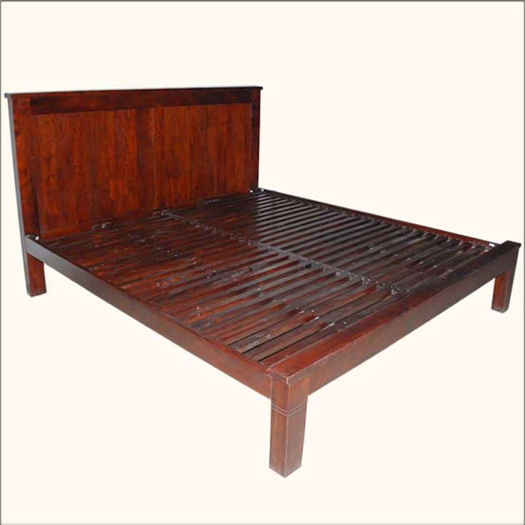 Modern Midnight Solid Wood Platform Bed Frame With Nightstands California King Beds And