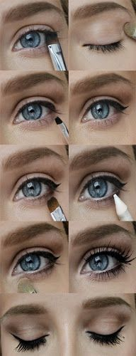This looks simple. Apparently all you do is put tools and eyeliner near your eyes and then BAM things happen! Although I'm noticing most pinterest makeup tutorials are like this, especially the complicated ones.  Huh.